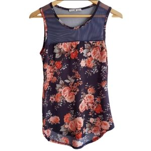 BLUE PLANET Tank Top Floral Mesh Size S
